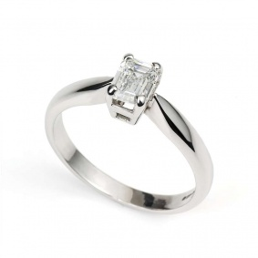 18WG 0.73ct Emerald Cut Diamond Single Stone Ring